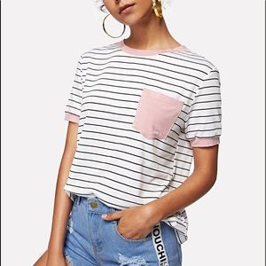 Shein NWOT stripped black and white tee with pink